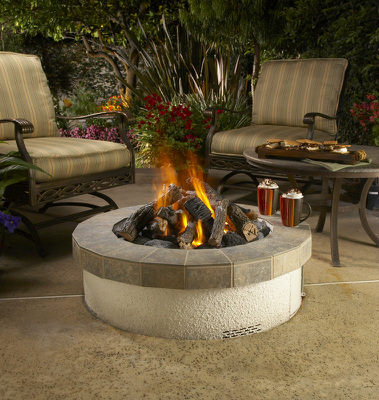Stucco Fire Pit - American Fyre Designs - Outdoor Kitchens by Lighting Concepts